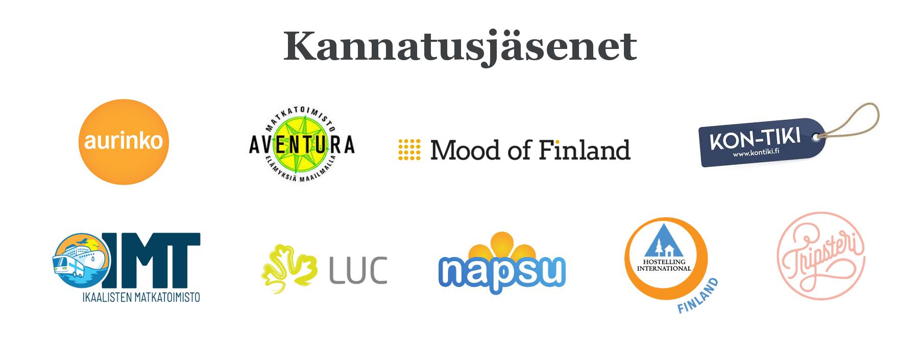 Reilun matkailun yhdistyksen kannatusjäsenten logot